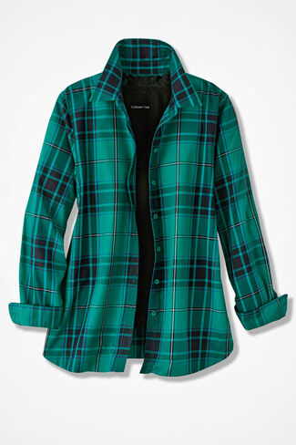 Festive Emerald Plaid Easy Care Shirt, Emerald, large