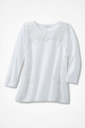 Graceful Lace Slub Tee, White, large