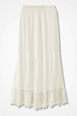 Lace Trim Maxi Slip, Ivory, large