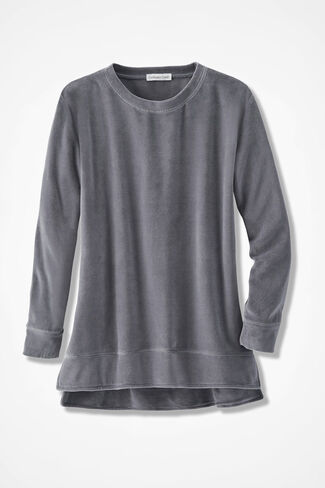 Velour du Jour Oversized Pullover, Graphite, large