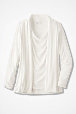 Soft Drape Cardigan, Antique White, large