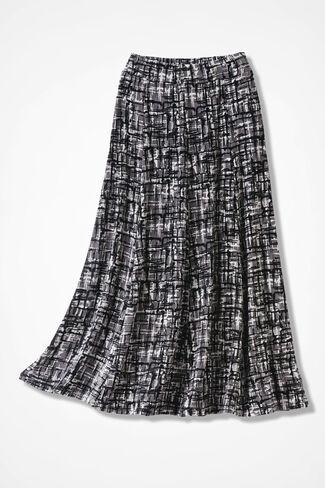 Destinations Etched-Print Gored Skirt, Black, large