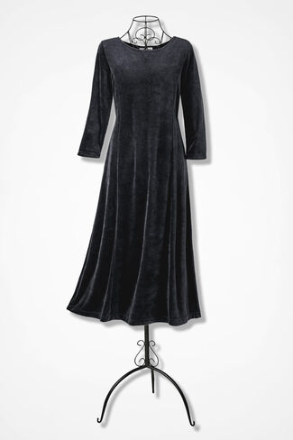 Park Avenue Velour Dress, Black, large