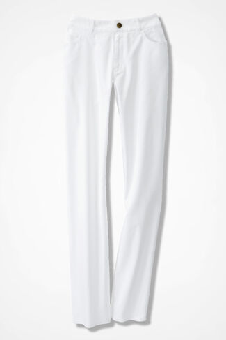 Washed CottonLuxe® Straight-Leg Pants, White, large