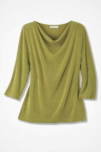 Destinations Drape-Neck Top, Avocado, large