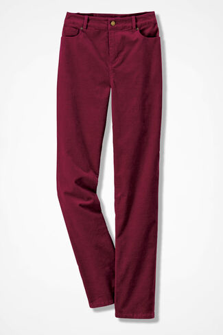 Pinwale Stretch Corduroys, Deep Pomegranate, large