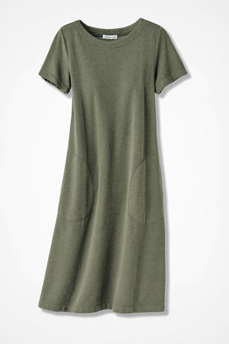 Colorwashed Fleece Skimmer Dress, Cypress, large