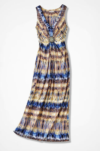 Beaded Treasure Abstract Maxi Dress, Multi, large