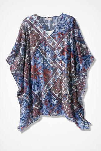 Artisan Floral Poncho, Blue Multi, large