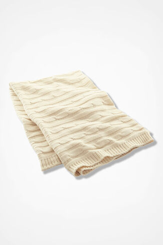 Comfy Cabled Cotton Throw, Ivory, large
