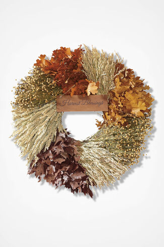 Harvest Blessings Wreath, Brown, large