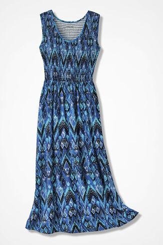 Ikat Print Smocked Knit Dress, Cobalt, large
