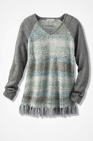 Wintermint Fringed Sweater, Pewter, large