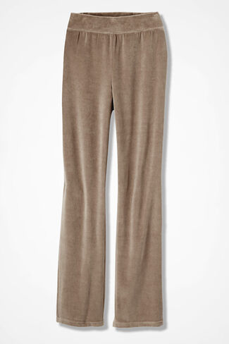 Velour du Jour Straight-Leg Pants, Toast, large