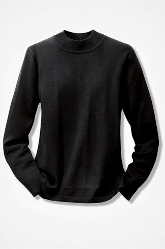 Silk/Cotton Mockneck, Black, large