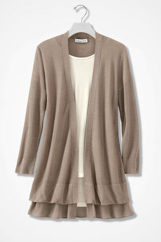 Barely There Chiffon-Trim Cardigan, Portabella, large