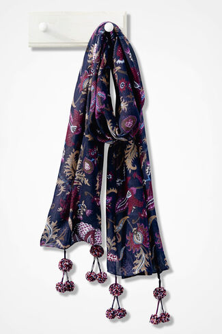 Floral Trellis Pompom Scarf, Vienna Currant, large