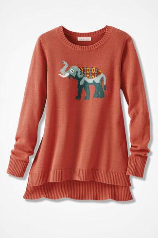 Elephant Celebration Sweater, Canyon Rose, large