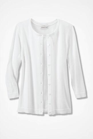 NEW Classic Cardigan, White, large