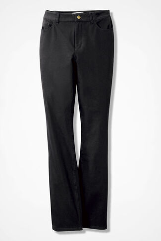 Stretch Twill Bootcut Jeans, Black, large
