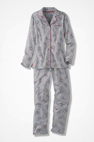 Birdsong Flannel Pajamas, Grey, large