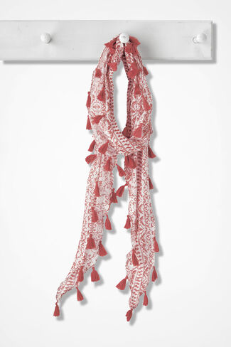 Signs and Symbols Tasseled Scarf, Rich Coral, large