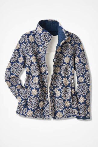 Print-to-Solid Reversible Jacket, Indigo, large