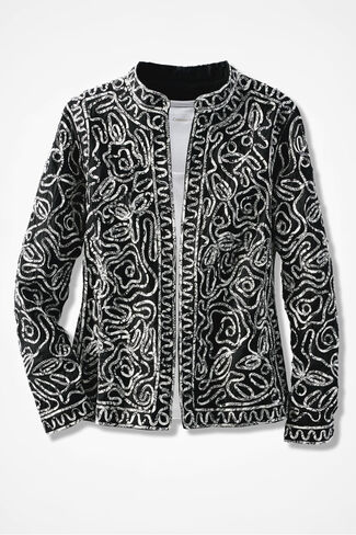 Artful Living Soutache Jacket, Black, large