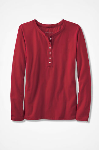 Velvet Trim PJ Top, Dover Red, large