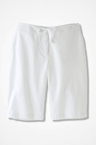 Solstice Linen Shorts, White, large