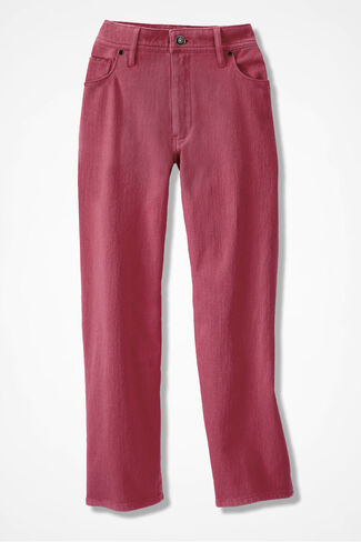 Knit Denim Cropped Jeans, Dusty Rose, large