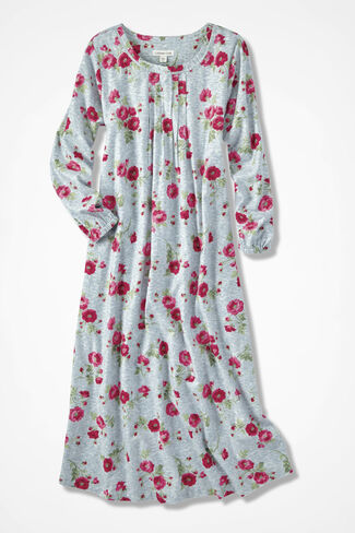 Winter Blooms Print Flannel Nightgown, Grey Multi, large