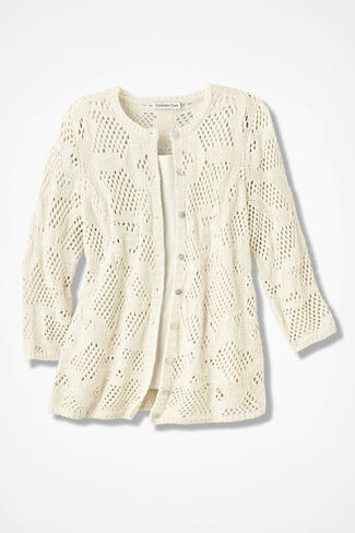 Mixed-Stitch Pointelle Cardigan, Natural, large