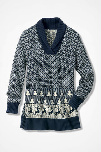 Holiday Lodge Sweater, Navy, large