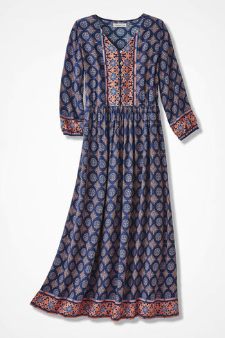 Terra Nova Print Dress, Ranch Blue, large