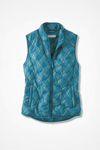 Plaid Vest for All Seasons, Mallard Blue, large