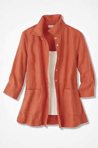 Easy Linen Shirt Jacket, Paprika, large