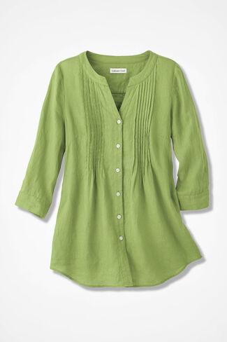 Tucked Linen Tunic, Willow Green, large
