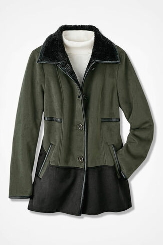 Two-Tone Faux Shearling Jacket, Olive, large