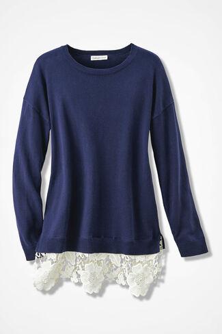 Lace Peek Sweater, Navy, large