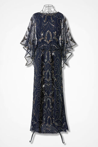 Filigree Beaded Dress by Pisarro Nights, Navy, large
