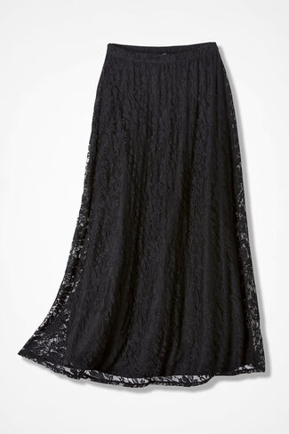 Stretchy Lace Skirt, Black, large