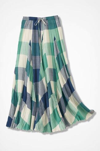 Crossroads Crinkle Skirt, Bright Aqua, large