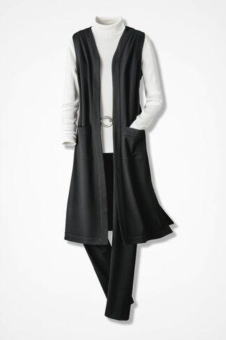 Vested Interest Ponte Pants Set, Black, large