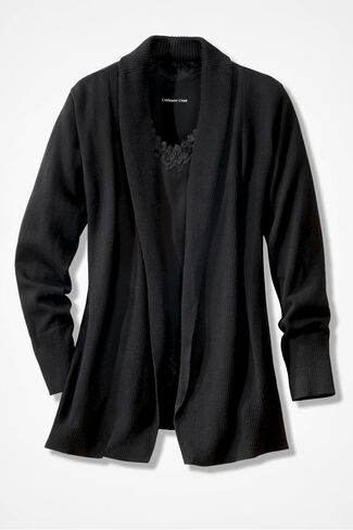Mixed Rib Open Cardigan, Black, large