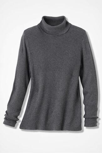 Classic Turtleneck Sweater, Caviar Charcoal, large
