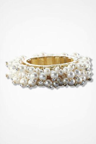 Moondrops Pearl Stretch Bracelet, Gold, large