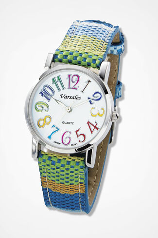 Stripes in Time Watch, Blue Multi, large