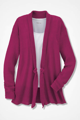 Vintage Look Knot-Front Open Cardigan, Raspberry, large