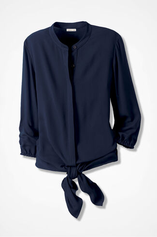 Tie-the-Knot Blouse, Navy, large